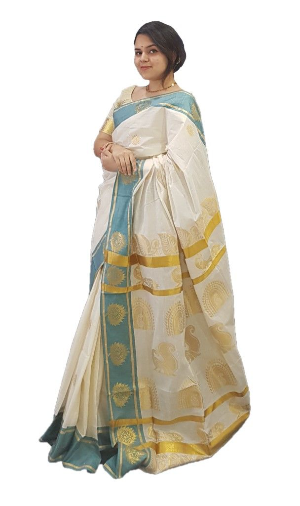 Kerala Kasavu Cotton Saree with Coloured Leaf Border and Floral Peacock motifs Saree OffWhite SeaGreen : Picture