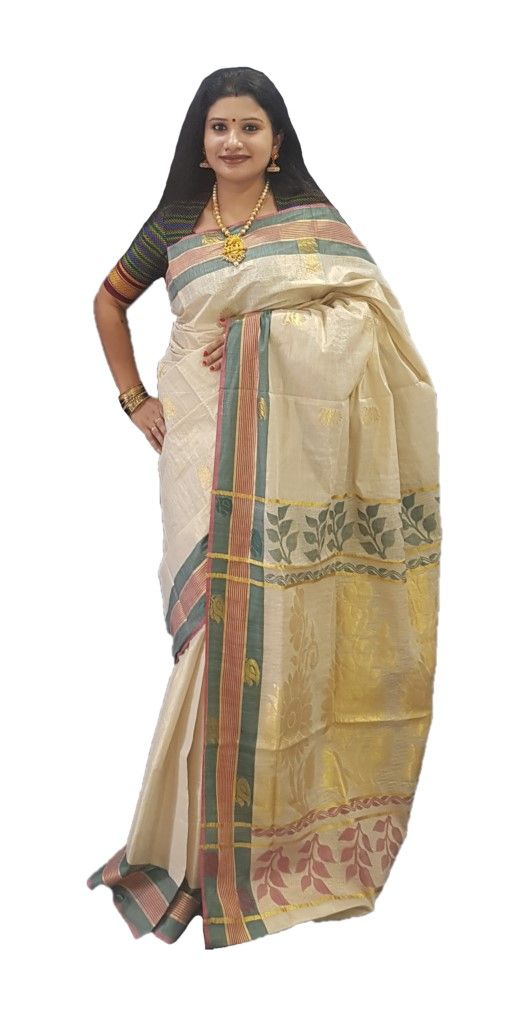 Kerala Kasavu Tissue Saree with Jari Work Coloured Border OffWhite Gold DarkGreen Pink : Details