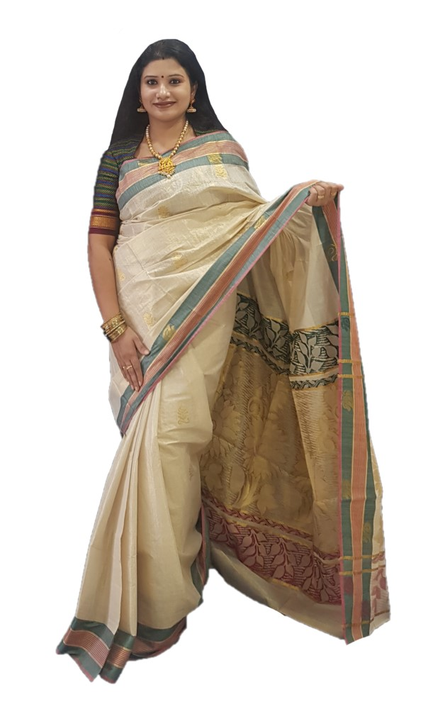 Kerala Kasavu Tissue Saree with Jari Work Coloured Border OffWhite Gold DarkGreen Pink : Picture