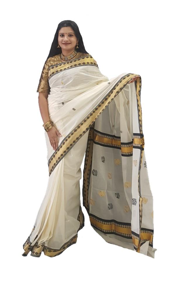 Kerala Kasavu Cotton Saree with Coloured Diamond Motifs Border OffWhite Gold Black : Picture
