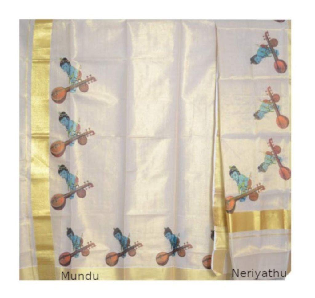 Kerala Kasavu Tissue Set Mundu with Mural Prints of Krishna Veena : Details