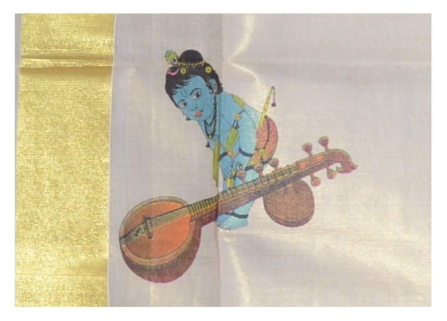Kerala Kasavu Tissue Set Mundu with Mural Prints of Krishna Veena : Picture