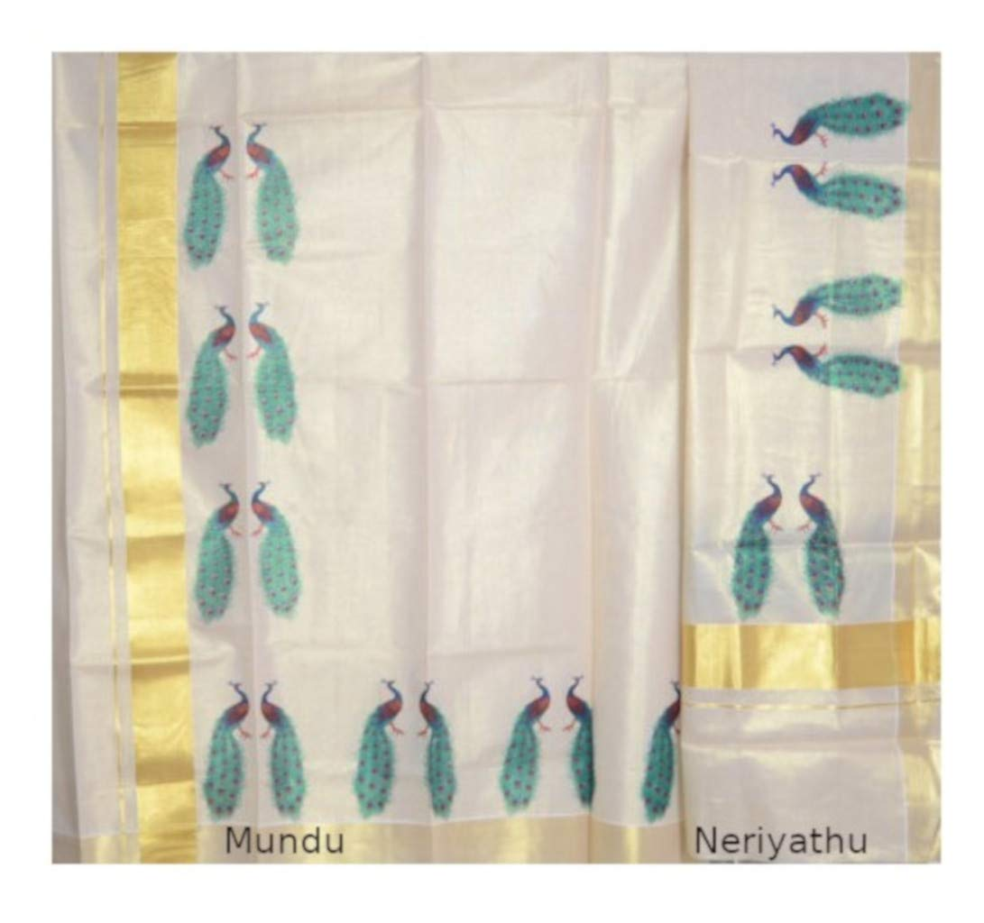Kerala Kasavu Tissue Set Mundu with Mural Prints of Perched Peacocks : Picture