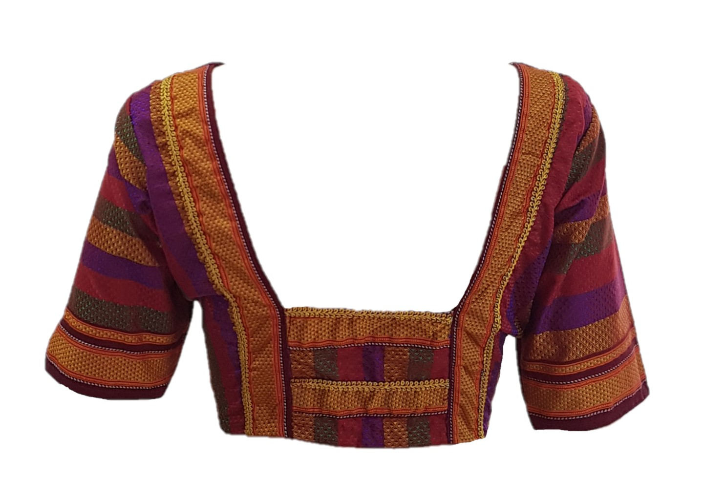 Ilkal Cotton Silk Khun Fabric Designer Back Readymade Saree Blouse Red Multicoloured Size XL : Picture