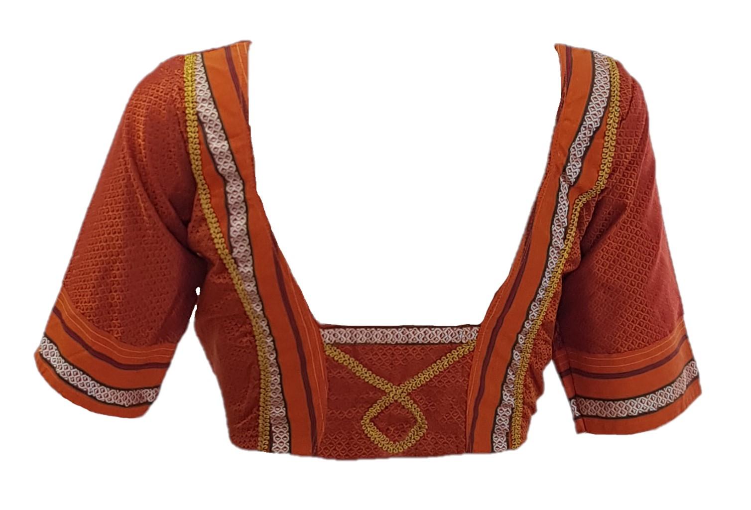 Ilkal Cotton Silk Khun Fabric Designer Back Readymade Saree Blouse Copper Orange Size Medium : Picture