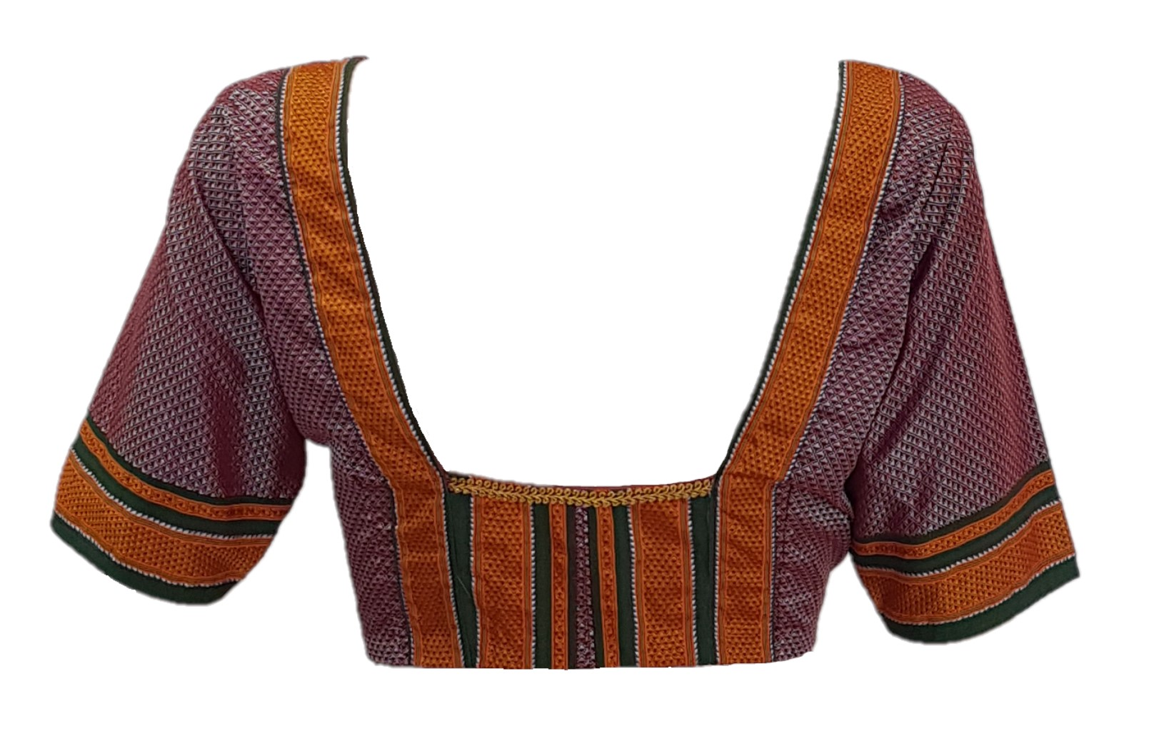 Ilkal Cotton Silk Khun Fabric Designer Back Readymade Saree Blouse Pinkish Maroon : Picture