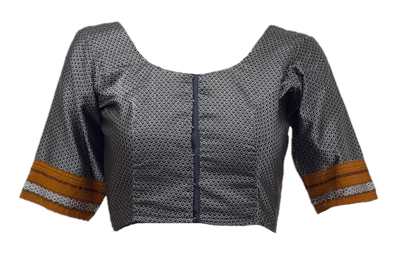 Ilkal Cotton Silk Khun Fabric Designer Back Readymade Saree Blouse Grey Yellow : Picture