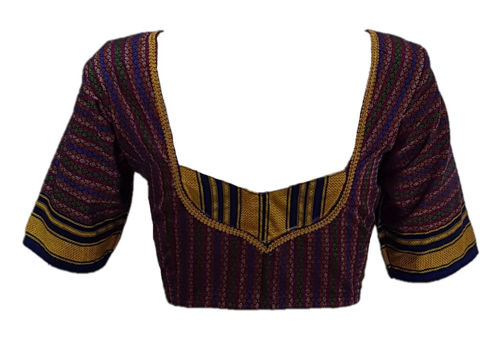 Ilkal Cotton Silk Khun Fabric Designer Back Readymade Saree Blouse Purple Blue : Details
