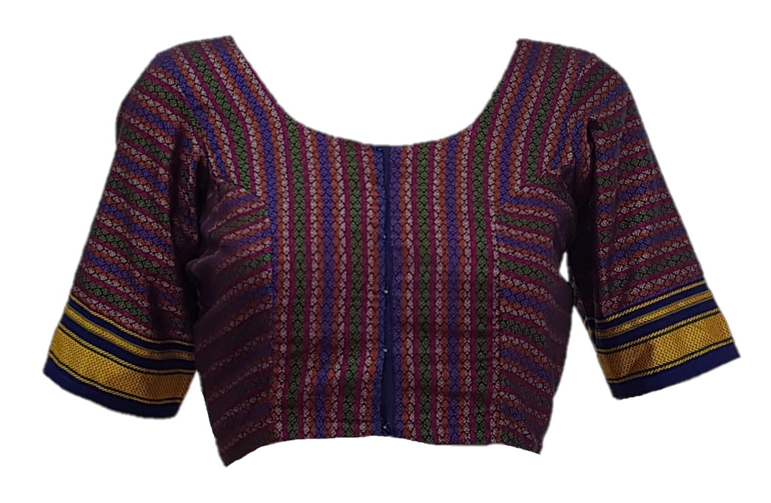 Ilkal Cotton Silk Khun Fabric Designer Back Readymade Saree Blouse Purple Blue : Picture