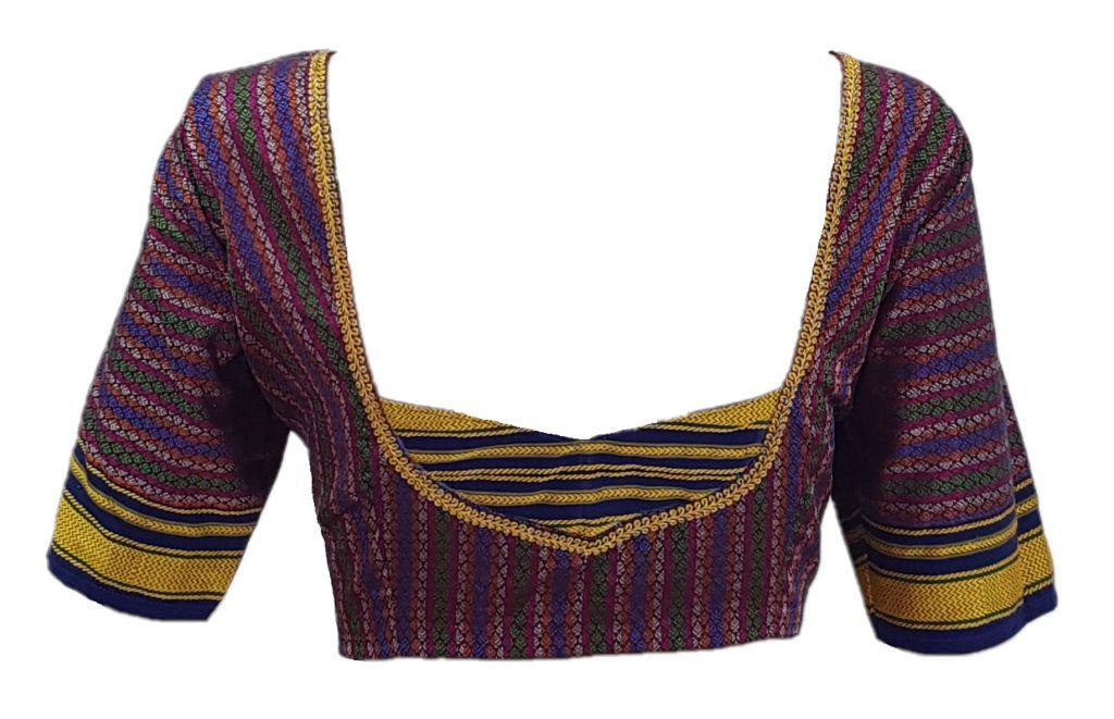 Ilkal Cotton Silk Khun Fabric Designer Back Readymade Saree Blouse Purple Blue Multicoloured : Picture