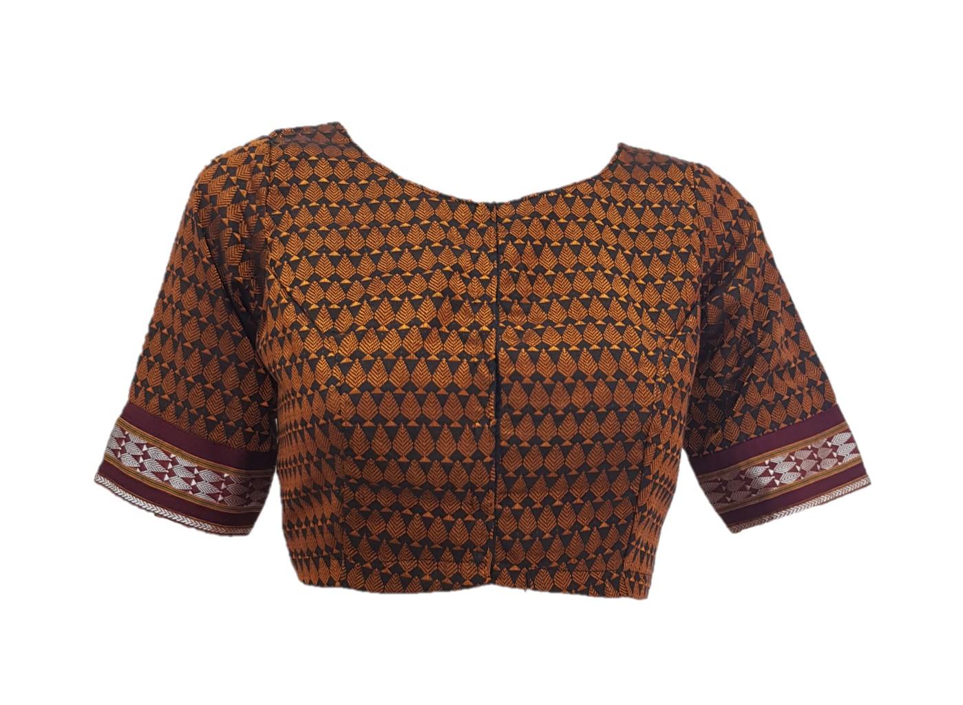 Ilkal Cotton Silk Khun Fabric Boat Neck Readymade Saree Blouse Copper Black : Picture