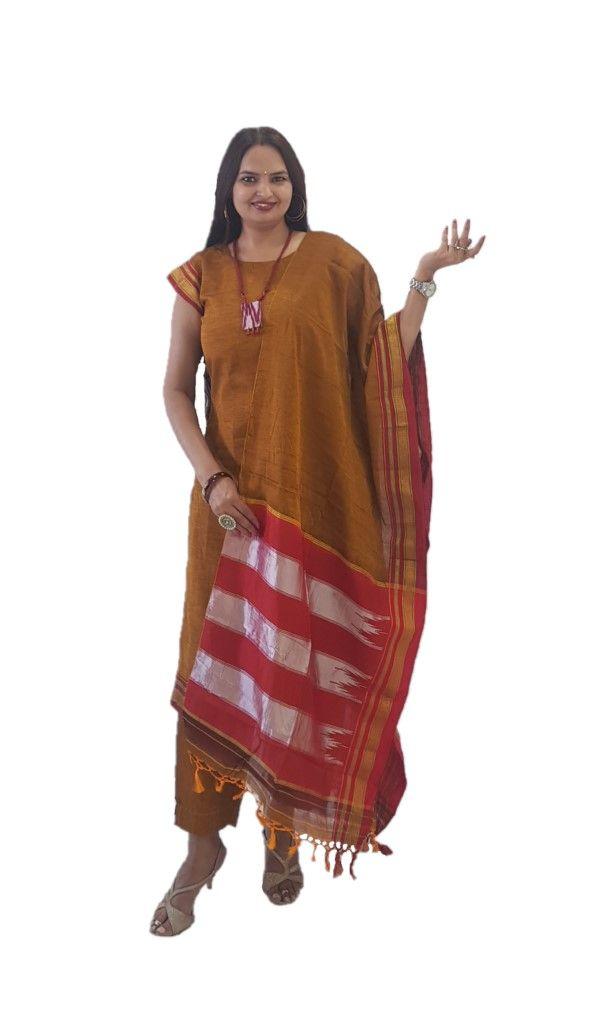 Ilkal Cotton Silk Stitched Suit Set Brown Yellow Size Medium : Picture