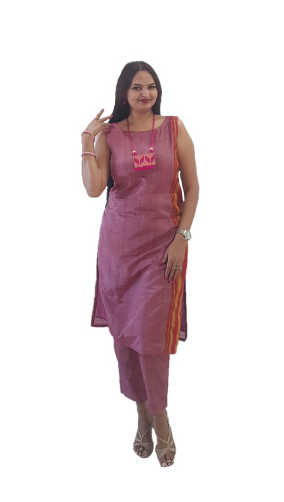 Ilkal Cotton Silk Stitched Suit Set with two Kurtis LightPink Size Medium : Picture