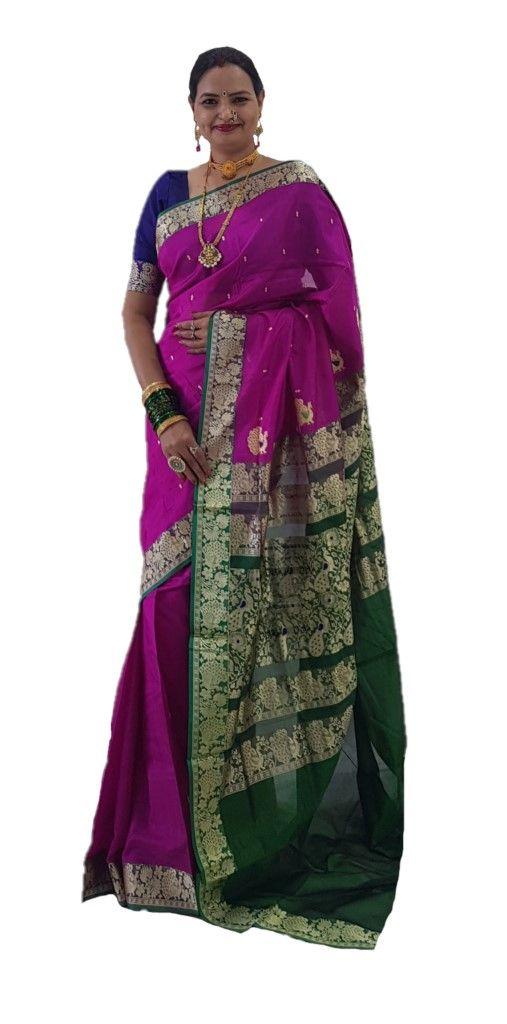 Soft Silk Peshwai Saree with Silk Thread Work of Peacocks Rani Pink Green : Picture