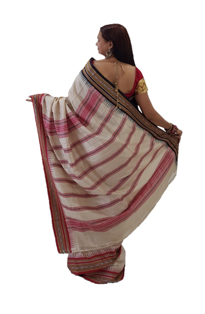 HandWoven Karvat Kathi Sarees of Pure Tussar Silk  OffWhite Red : Picture